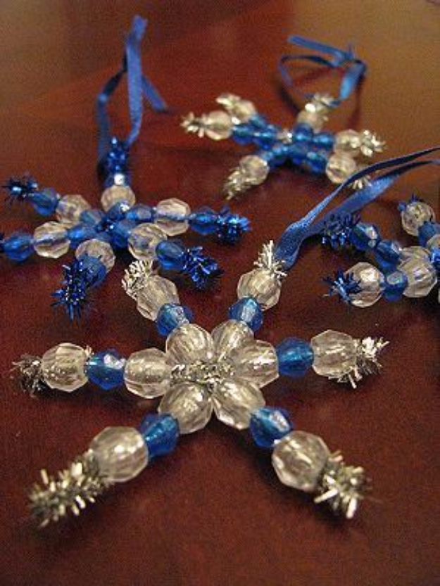 Best DIY Snowflake Decorations, Ornaments and Crafts - Beaded Snowflake Ornaments - Paper Crafts with Snowflakes, Pipe Cleaner Projects, Mason Jars and Dollar Store Ideas - Easy DIY Ideas to Decorate for Winter#winter #crafts #diy