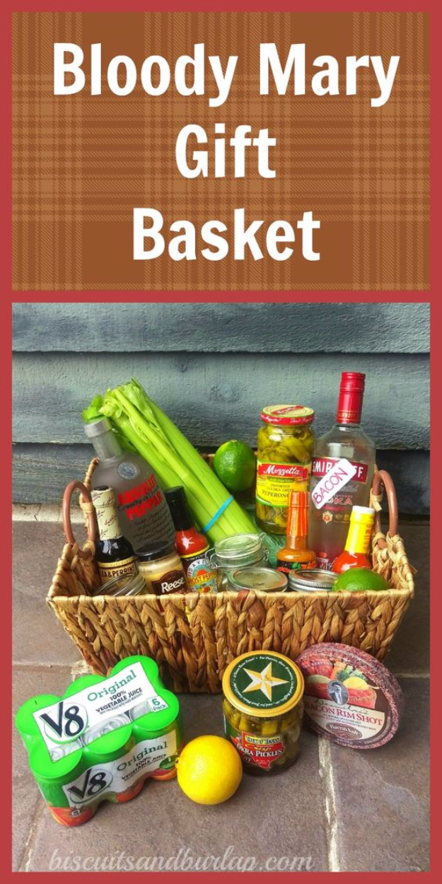 DIY Housewarming Gifts - Bloody Mary Gift Basket- Best Do It Yourself Gift Ideas for Friends With A New House, Home or Apartment - Creative, Cheap and Quick Crafts and DIY Ideas for Housewarming Presents - Mason Jar Gifts, Baskets, Gifts for Women and Men http://diyjoy.com/diy-housewarming-gifts