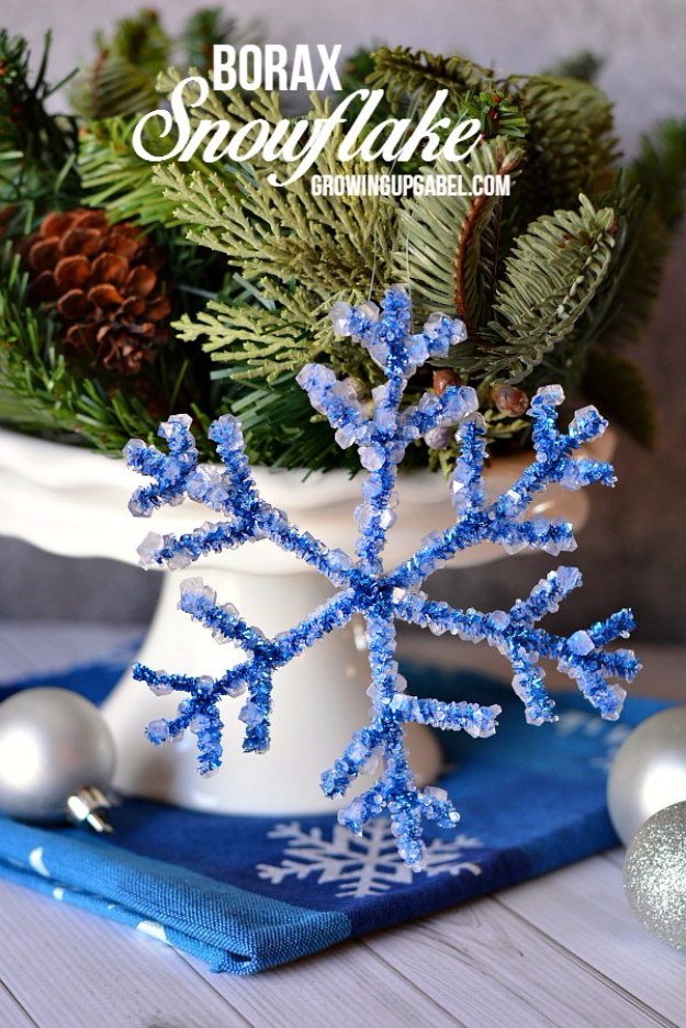 Best DIY Snowflake Decorations, Ornaments and Crafts - Borax Snowflake - Paper Crafts with Snowflakes, Pipe Cleaner Projects, Mason Jars and Dollar Store Ideas - Easy DIY Ideas to Decorate for Winter#winter #crafts #diy