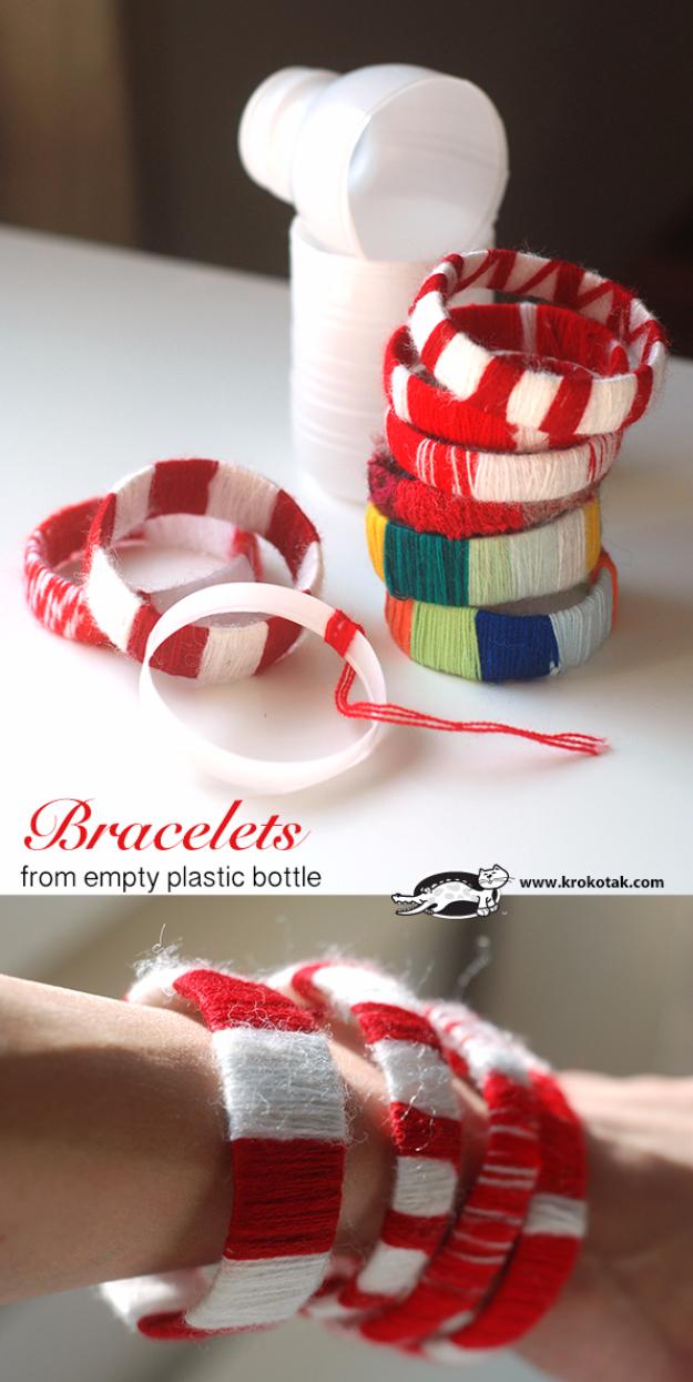 Proyectos geniales de bricolaje hechos con botellas de plástico - Pulseras de botellas de plástico vacías - Las mejores manualidades e ideas de bricolaje hechas con una botella de plástico reciclada - Joyas, decoración del hogar, macetas, tutoriales de proyectos artesanales - Maneras baratas de decorar y regalos creativos de bricolaje para las vacaciones de Navidad - Proyectos divertidos para adultos, adolescentes y niños http://diyjoy.com/diy-projects-plastic-bottles
