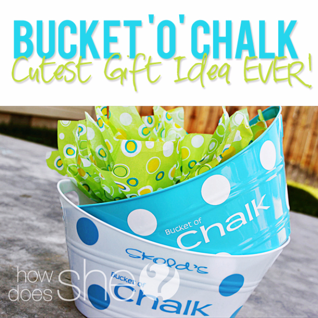 Best DIY Gifts for Neighbors - Bucket 'O' Chalk - Cute Mason Jar Crafts, Gift Baskets and Cheap and Easy Gift Ideas to Make for Friends - Do It Yourself Projects You Can Sew and Craft That Make Awesome DIY Gifts and Homemade Christmas Presents http://diyjoy.com/diy-gifts-friends-neighbors