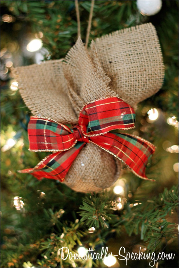 Best DIY Ornaments for Your Tree - Best DIY Ornament Ideas for Your Christmas Tree - Burlap And Plaid Christmas Ornament - Cool Handmade Ornaments, DIY Decorating Ideas and Ornament Tutorials - Creative Ways To Decorate Trees on A Budget - Cheap Rustic Decor, Easy Step by Step Tutorials - Holiday Crafts for Kids and Gifts To Make For Friends and Family http://diyjoy.com/diy-ideas-christmas-tree