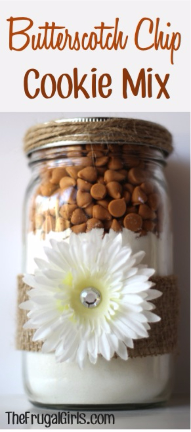 Best Mason Jar Cookies - Butterscotch Chip Cookie Mix - Mason Jar Cookie Recipe Mix for Cute Decorated DIY Gifts - Easy Chocolate Chip Recipes, Christmas Presents and Wedding Favors in Mason Jars - Fun Ideas for DIY Parties and Cheap Last Minute Gift Ideas for Friends #diygifts #masonjarcrafts