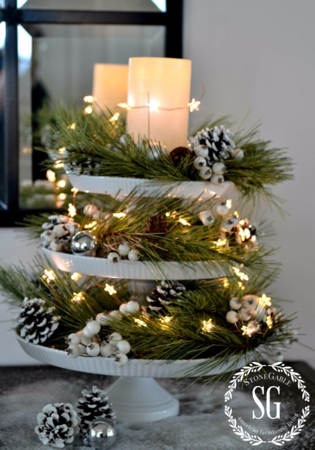 DIY Christmas Centerpieces - Cake Stand Christmas Centerpiece - Simple, Easy Holiday Decorating Ideas on A Budget- cheap dollar store crafts holiday #holiday #crafts #christmas