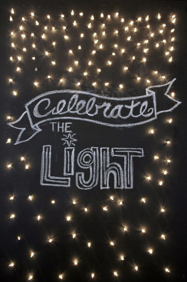 Cool Ways To Use Christmas Lights - Celebrate The Light Canvas - Best Easy DIY Ideas for String Lights for Room Decoration, Home Decor and Creative DIY Bedroom Lighting #diy #christmas #homedecor