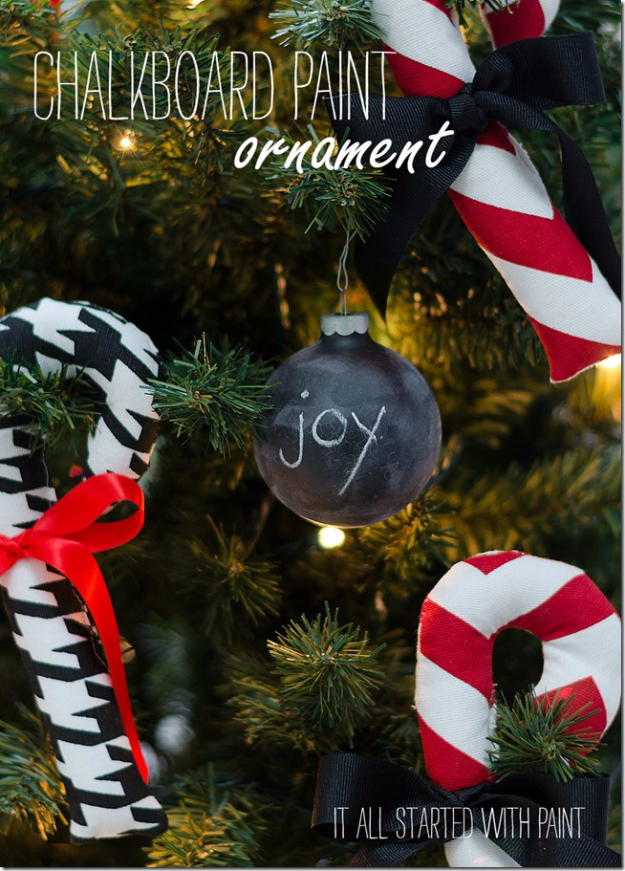 Best DIY Ornaments for Your Tree - Best DIY Ornament Ideas for Your Christmas Tree - Chalkboard Paint Ornament - Cool Handmade Ornaments, DIY Decorating Ideas and Ornament Tutorials - Creative Ways To Decorate Trees on A Budget - Cheap Rustic Decor, Easy Step by Step Tutorials - Holiday Crafts for Kids and Gifts To Make For Friends and Family http://diyjoy.com/diy-ideas-christmas-tree