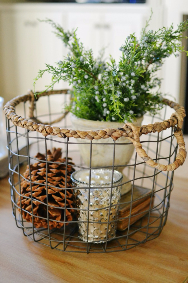 chicken wire basket christmas decor - Christmas Basket Decorations