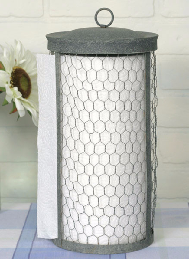 DIY Farmhouse Style Decor Ideas for the Kitchen - Chicken Wire Towel Holder - Rustic Farm House Ideas for Furniture, Paint Colors, Farm House Decoration for Home Decor in The Kitchen - Wall Art, Rugs, Countertops, Lights and Kitchen Accessories http://diyjoy.com/diy-farmhouse-kitchen
