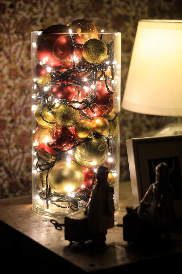 Cool Ways To Use Christmas Lights - Christmas Ball Luminary - Best Easy DIY Ideas for String Lights for Room Decoration, Home Decor and Creative DIY Bedroom Lighting #diy #christmas #homedecor