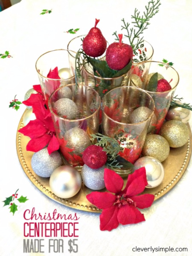 diy christmas centerpieces christmas centerpiece under 5 simple easy holiday decorating ideas on - Christmas Flower Decorations