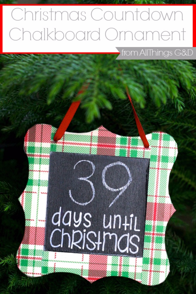 Best DIY Ornaments for Your Tree - Best DIY Ornament Ideas for Your Christmas Tree - Christmas Countdown Chalkboard Ornament - Cool Handmade Ornaments, DIY Decorating Ideas and Ornament Tutorials - Creative Ways To Decorate Trees on A Budget - Cheap Rustic Decor, Easy Step by Step Tutorials - Holiday Crafts for Kids #christmas