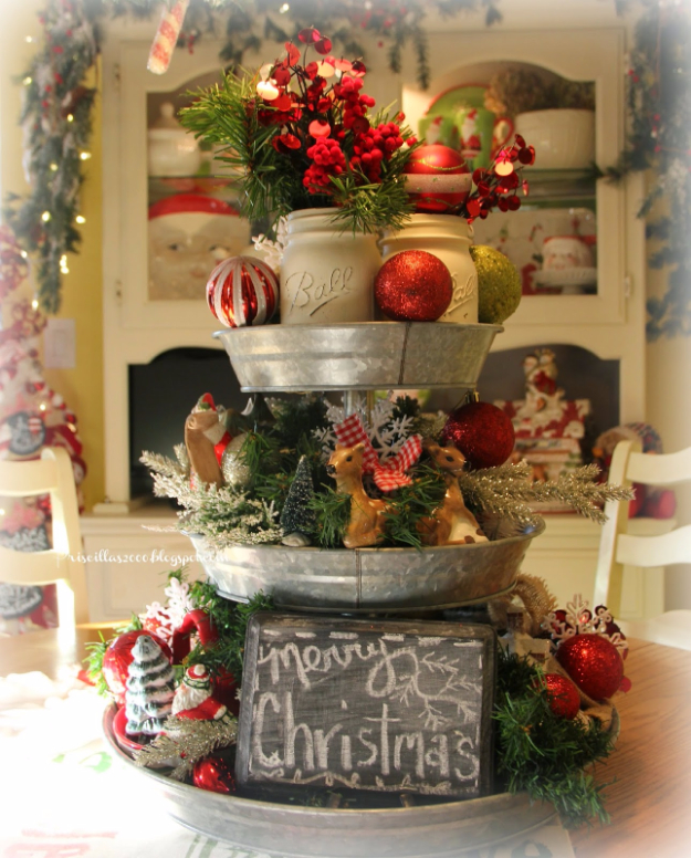 DIY Christmas Centerpieces - Christmas Galvanized Tray Centerpiece - Simple, Easy Holiday Decorating Ideas on A Budget- cheap dollar store crafts holiday #holiday #crafts #christmas