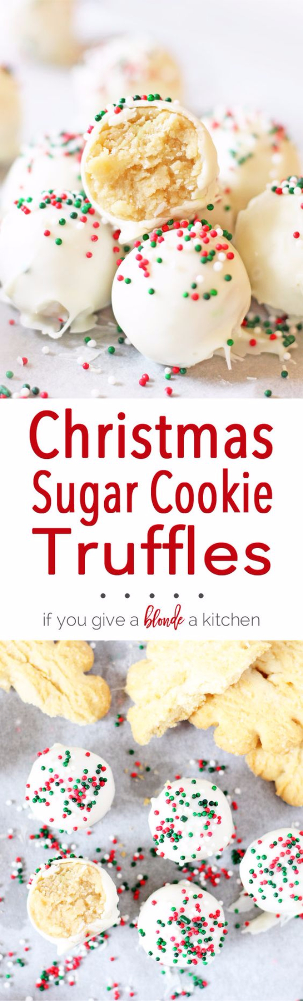 Best Recipes for Christmas Cookies- Christmas Sugar Cookie Truffles - Easy Decorated Holiday Cookies - Candy Cookie Recipes Ideas for Kids - Traditional Favorites and Gluten Free and Healthy Versions - Quick No Bake Cookies and Last Minute Desserts for the Holidays