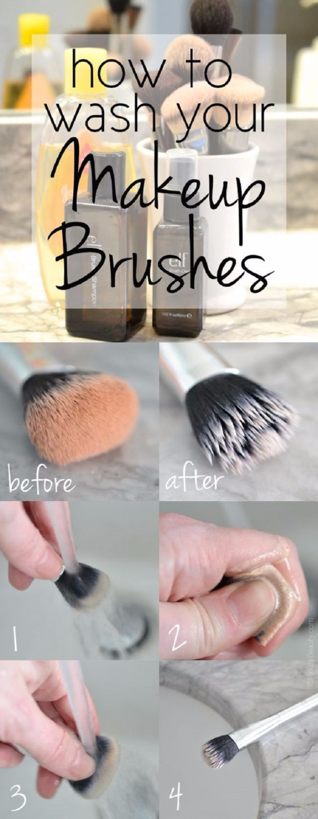 Cool DIY Makeup Hacks for Quick and Easy Beauty Ideas - Clean Makeup Brushes The Easy Way - How To Fix Broken Makeup, Tips and Tricks for Mascara and Eye Liner, Lipstick and Foundation Tutorials - Fast Do It Yourself Beauty Projects for Women