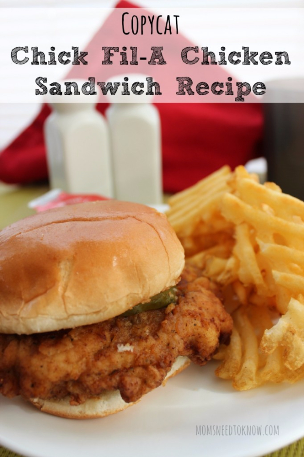50 More Best Copycat Recipes From Top Restaurants - Copycat Chick Fil-A Sandwich Recipe - Awesome Recipe Knockoffs and Recipe Ideas from Chipotle Restaurant, Starbucks, Olive Garden, Cinabbon, Cracker Barrel, Taco Bell, Cheesecake Factory, KFC, Mc Donalds, Red Lobster, Panda Express http://diyjoy.com/best-copycat-restaurant-recipes
