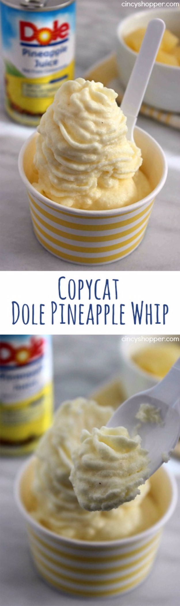 Best Copycat Recipes From Top Restaurants - Copycat Dole Pineapple Whip - Awesome Recipe Knockoffs and Recipe Ideas from Chipotle Restaurant, Starbucks, Olive Garden, Cinabbon, Cracker Barrel, Taco Bell, Cheesecake Factory, KFC, Mc Donalds, Red Lobster, Panda Express #recipes #copycat #dinnerideas