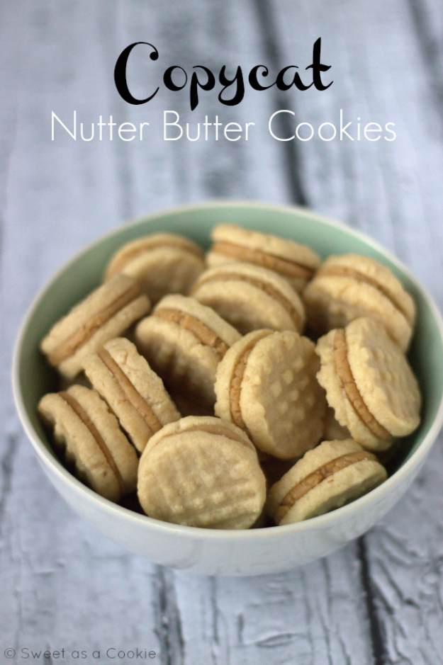Best Copycat Recipes From Top Restaurants - Copycat Homemade Nutter Butter Cookies - Awesome Recipe Knockoffs and Recipe Ideas from Chipotle Restaurant, Starbucks, Olive Garden, Cinabbon, Cracker Barrel, Taco Bell, Cheesecake Factory, KFC, Mc Donalds, Red Lobster, Panda Express #recipes #copycat #dinnerideas