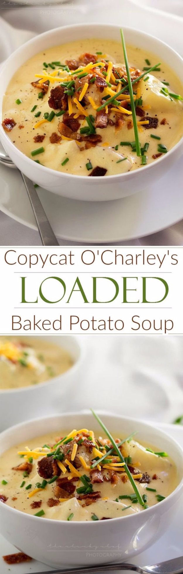 Best Copycat Recipes From Top Restaurants - Copycat O'Charley's Loaded Baked Potato soup - Awesome Recipe Knockoffs and Recipe Ideas from Chipotle Restaurant, Starbucks, Olive Garden, Cinabbon, Cracker Barrel, Taco Bell, Cheesecake Factory, KFC, Mc Donalds, Red Lobster, Panda Express #recipes #copycat #dinnerideas
