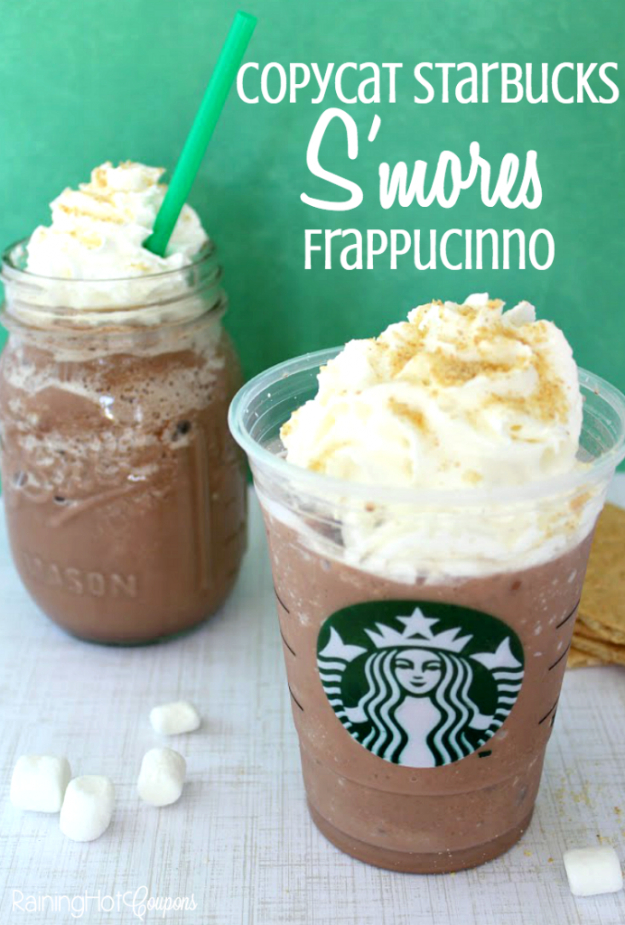 Best Copycat Recipes From Top Restaurants - Copycat Starbucks S'mores Frappucinno - Awesome Recipe Knockoffs and Recipe Ideas from Chipotle Restaurant, Starbucks, Olive Garden, Cinabbon, Cracker Barrel, Taco Bell, Cheesecake Factory, KFC, Mc Donalds, Red Lobster, Panda Express #recipes #copycat #dinnerideas