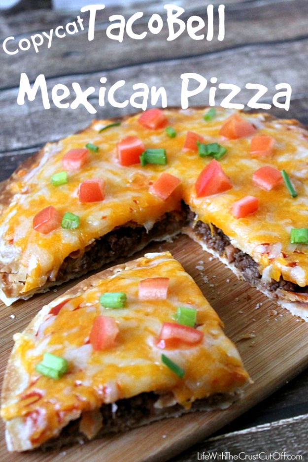 Best Copycat Recipes From Top Restaurants - Copycat Taco Bell Mexican Pizza - Awesome Recipe Knockoffs and Recipe Ideas from Chipotle Restaurant, Starbucks, Olive Garden, Cinabbon, Cracker Barrel, Taco Bell, Cheesecake Factory, KFC, Mc Donalds, Red Lobster, Panda Express #recipes #copycat #dinnerideas