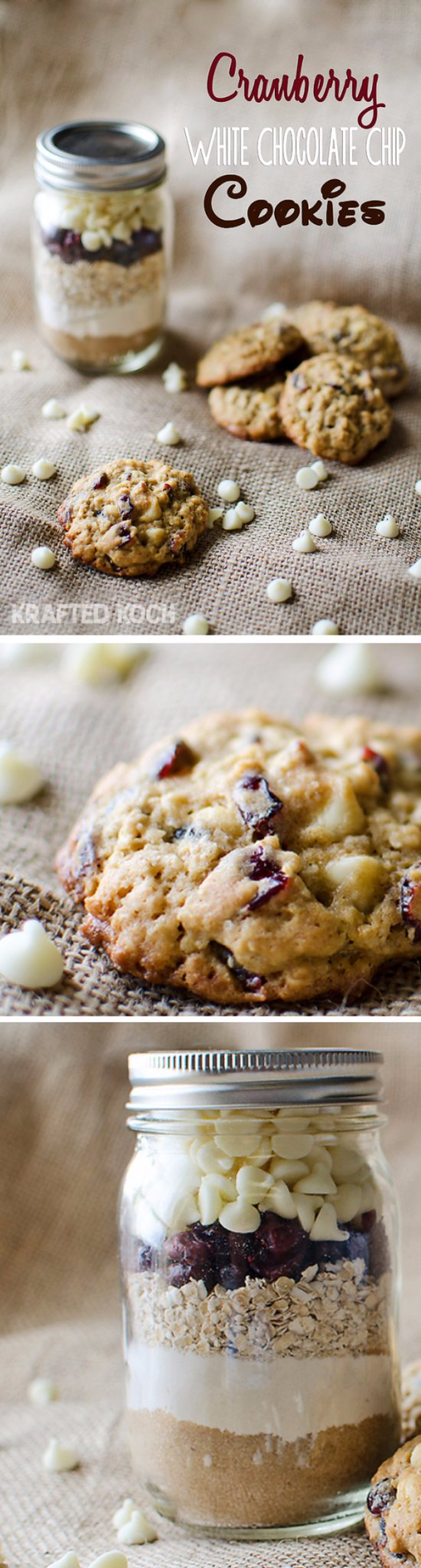 Best Mason Jar Cookies - Cranberry White Chocolate Chip Cookies in a Pint Jar - Mason Jar Cookie Recipe Mix for Cute Decorated DIY Gifts - Easy Chocolate Chip Recipes, Christmas Presents and Wedding Favors in Mason Jars - Fun Ideas for DIY Parties and Cheap Last Minute Gift Ideas for Friends #diygifts #masonjarcrafts