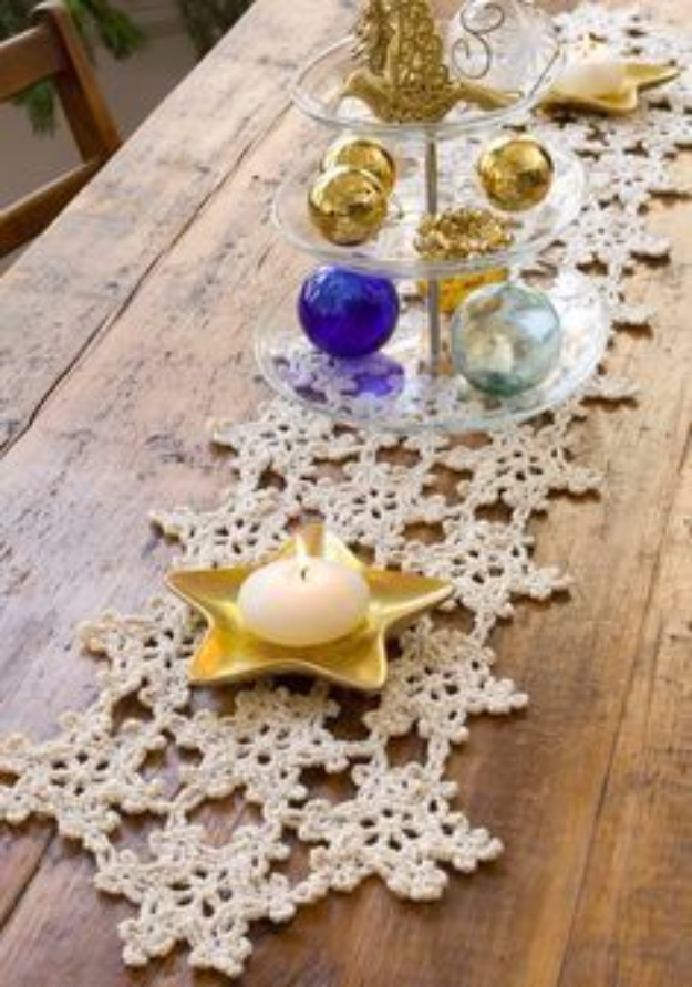 Best DIY Snowflake Decorations, Ornaments and Crafts - Crocheted Snowflake Table Runner - Paper Crafts with Snowflakes, Pipe Cleaner Projects, Mason Jars and Dollar Store Ideas - Easy DIY Ideas to Decorate for Winter#winter #crafts #diy