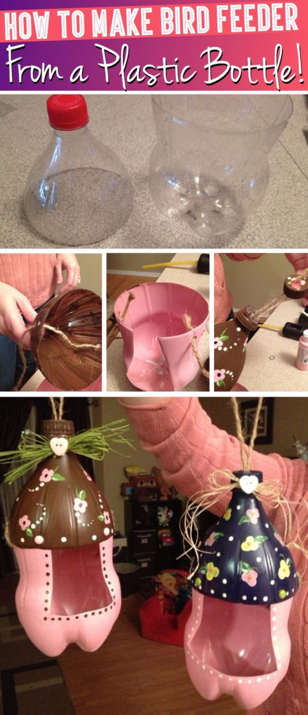 Cool DIY Projects Made With Plastic Bottles - Cute Bird Feeder From A Plastic Bottle - Best Easy Crafts and DIY Ideas Made With A Recycled Plastic Bottle - Jewlery, Home Decor, Planters, Craft Project Tutorials - Cheap Ways to Decorate and Creative DIY Gifts for Christmas Holidays - Fun Projects for Adults, Teens and Kids