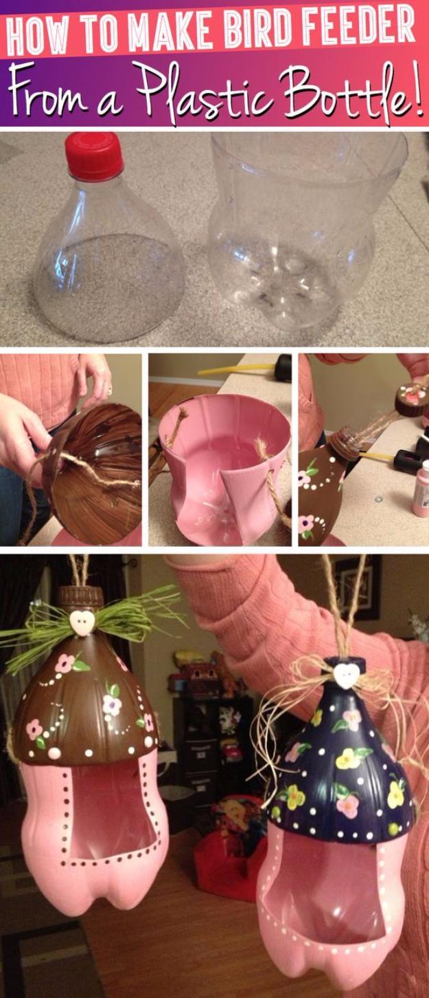 Proyectos geniales de bricolaje hechos con botellas de plástico - Alimentador de pájaros lindo de una botella de plástico - Las mejores manualidades e ideas de bricolaje hechas con una botella de plástico reciclada - Joyas, decoración del hogar, macetas, tutoriales de proyectos artesanales - Maneras baratas de decorar y regalos creativos de bricolaje para Navidad Vacaciones - Proyectos divertidos para adultos, adolescentes y niños http://diyjoy.com/diy-projects-plastic-bottles