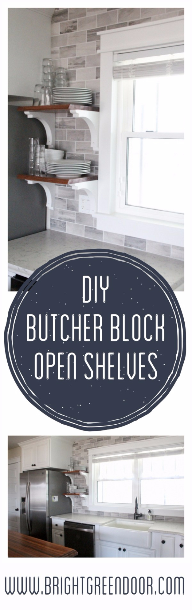 DIY Farmhouse Style Decor Ideas for the Kitchen - DIY Butcher Block Open Shelves - Rustic Farm House Ideas for Furniture, Paint Colors, Farm House Decoration for Home Decor in The Kitchen - Wall Art, Rugs, Countertops, Lights and Kitchen Accessories #farmhouse #diydecor