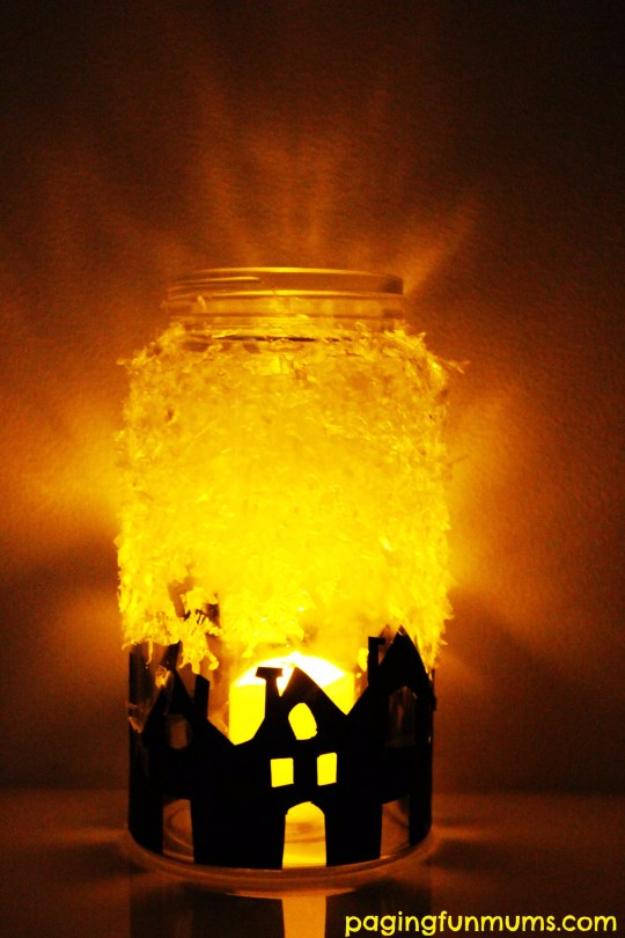 DIY Christmas Luminaries and Home Decor for The Holidays - DIY Christmas Village Silhouette Luminary Jar - Cool Candle Holders, Tea Lights, Holiday Gift Ideas, Christmas Crafts for Kids #diy #luminaries #christmas