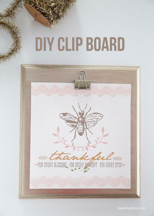 Best DIY Gifts for Neighbors - DIY Clipboard And Glitters - Cute Mason Jar Crafts, Gift Baskets and Cheap and Easy Gift Ideas to Make for Friends - Do It Yourself Projects You Can Sew and Craft That Make Awesome DIY Gifts and Homemade Christmas Presents http://diyjoy.com/diy-gifts-friends-neighbors