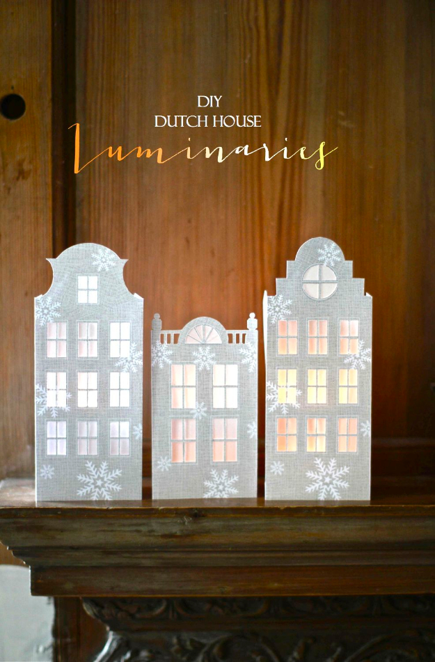 DIY Christmas Luminaries and Home Decor for The Holidays - DIY Dutch Canal House Luminaries - Cool Candle Holders, Tea Lights, Holiday Gift Ideas, Christmas Crafts for Kids #diy #luminaries #christmas