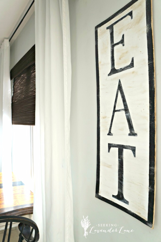 DIY Farmhouse Style Decor Ideas for the Kitchen - DIY Eat Sign - Rustic Farm House Ideas for Furniture, Paint Colors, Farm House Decoration for Home Decor in The Kitchen - Wall Art, Rugs, Countertops, Lights and Kitchen Accessories #farmhouse #diydecor