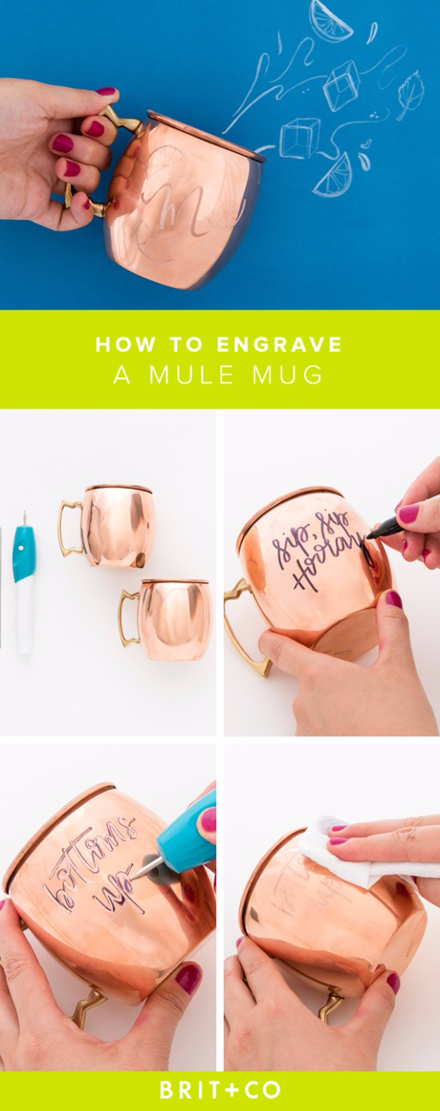 DIY Gift for the Office - DIY Engraved Copper Mug - DIY Gift Ideas for Your Boss and Coworkers - Cheap and Quick Presents to Make for Office Parties, Secret Santa Gifts - Cool Mason Jar Ideas, Creative Gift Baskets and Easy Office Christmas Presents