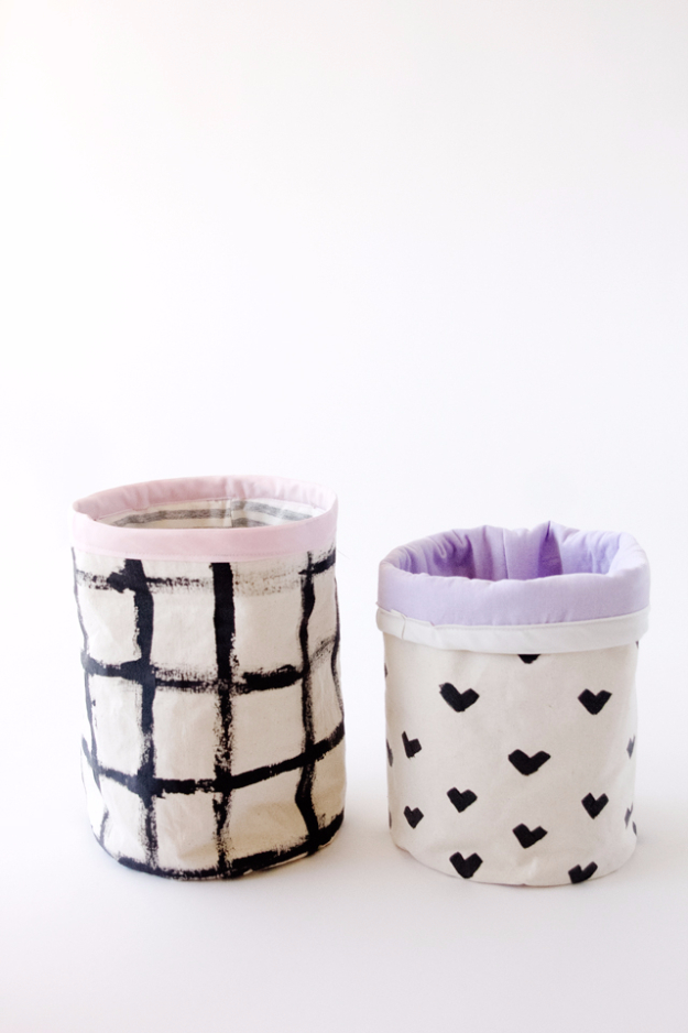Creative Crafts Made With Baskets - DIY Fabric Basket - DIY Storage and Organizing Ideas, Gift Basket Ideas, Best DIY Christmas Presents and Holiday Gifts, Room and Home Decor with Step by Step Tutorials - Easy DIY Ideas and Dollar Store Crafts #crafts #diy