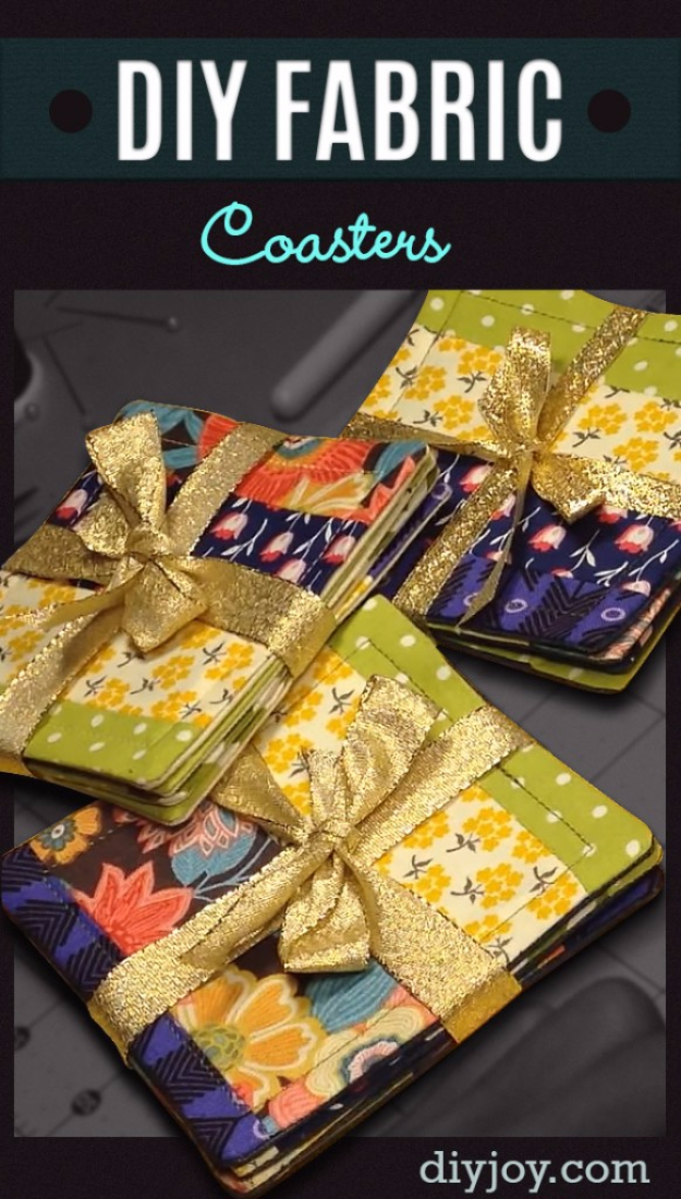 DIY Gift for the Office - DIY Fabric Coasters - DIY Gift Ideas for Your Boss and Coworkers - Cheap and Quick Presents to Make for Office Parties, Secret Santa Gifts - Cool Mason Jar Ideas, Creative Gift Baskets and Easy Office Christmas Presents http://diyjoy.com/diy-gifts-office