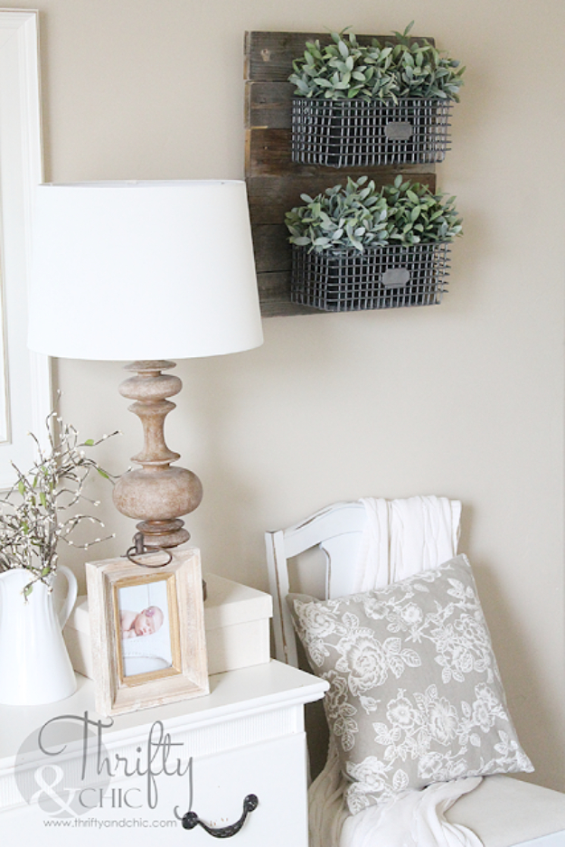 DIY Farmhouse Style Decor Ideas For The Bedroom   DIY Farmhouse Style  Hanging Wire Baskets