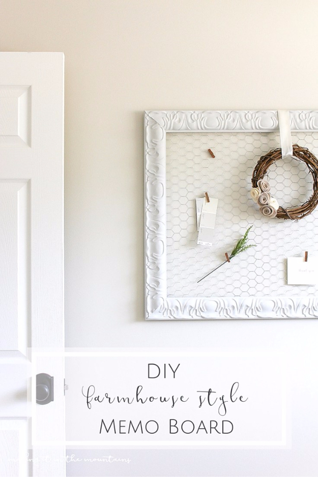 DIY Farmhouse Style Decor Ideas for the Bedroom - DIY Farmhouse Style Memo Board - Rustic Farm House Ideas for Furniture, Paint Colors, Farm House Decoration for Home Decor in The Bedroom - Wall Art, Rugs, Nightstands, Lights and Room Accessories http://diyjoy.com/diy-farmhouse-decor-bedroom