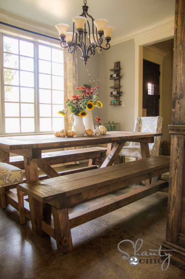 DIY Farmhouse Style Decor Ideas for the Kitchen - DIY Farmhouse Table - Rustic Farm House Ideas for Furniture, Paint Colors, Farm House Decoration for Home Decor in The Kitchen - Wall Art, Rugs, Countertops, Lights and Kitchen Accessories #farmhouse #diydecor