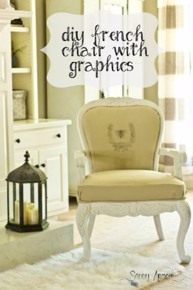 DIY Farmhouse Style Decor Ideas for the Bedroom - DIY French Chair With Graphics - Rustic Farm House Ideas for Furniture, Paint Colors, Farm House Decoration for Home Decor in The Bedroom - Wall Art, Rugs, Nightstands, Lights and Room Accessories http://diyjoy.com/diy-farmhouse-decor-bedroom