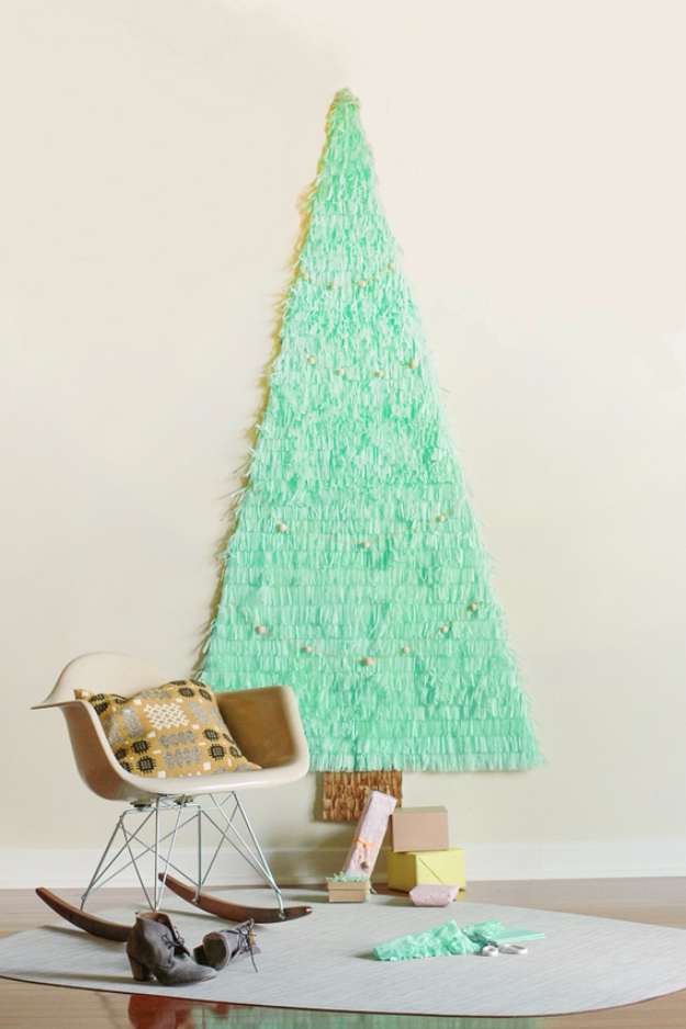 Best DIY Ideas for Your Christmas Tree - DIY Fringe Christmas Tree - Cool Handmade Ornaments, DIY Decorating Ideas and Ornament Tutorials - Creative Ways To Decorate Trees on A Budget - Cheap Rustic Decor, Easy Step by Step Tutorials - Holiday Crafts for Kids and Gifts To Make For Friends and Family http://diyjoy.com/diy-ideas-christmas-tree