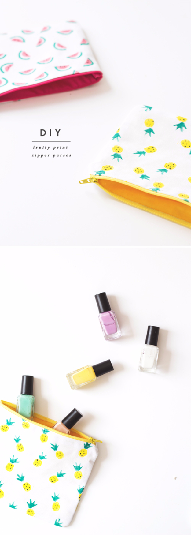 Cute DIY Gift for the Office - DIY Fruity Print Zipper Pouches - DIY Gift Ideas for Your Boss and Coworkers - Cheap and Quick Presents to Make for Office Parties, Secret Santa Gifts - Cool Mason Jar Ideas, Creative Gift Baskets and Easy Office Christmas Presents