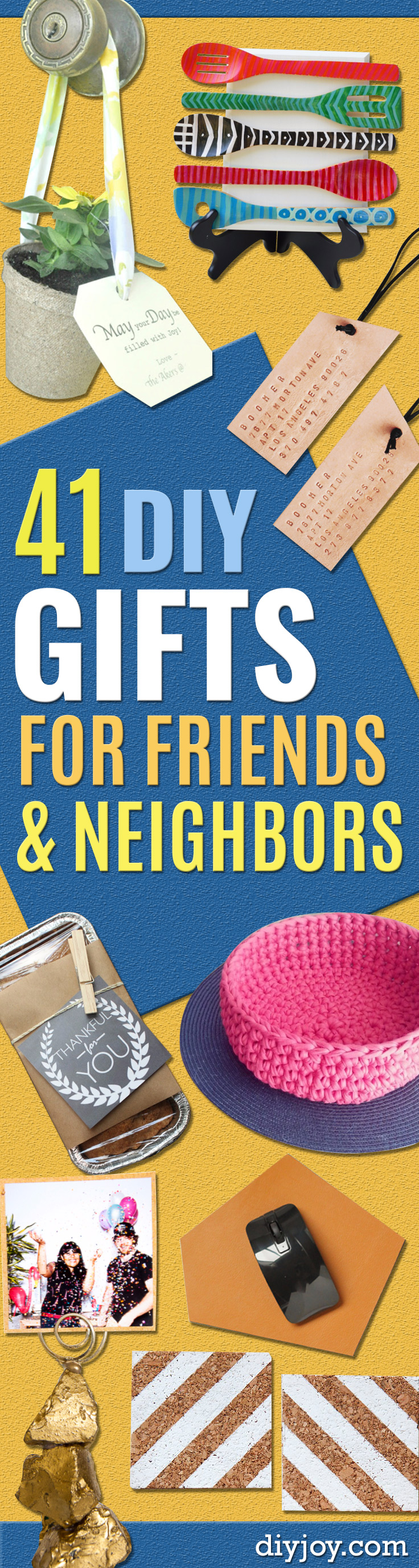 Best DIY Gifts for Neighbors - Cute Mason Jar Crafts, Gift Baskets and Cheap and Easy Gift Ideas to Make for Friends - Do It Yourself Projects You Can Sew and Craft That Make Awesome DIY Gifts and Homemade Christmas Presents http://diyjoy.com/diy-gifts-friends-neighbors
