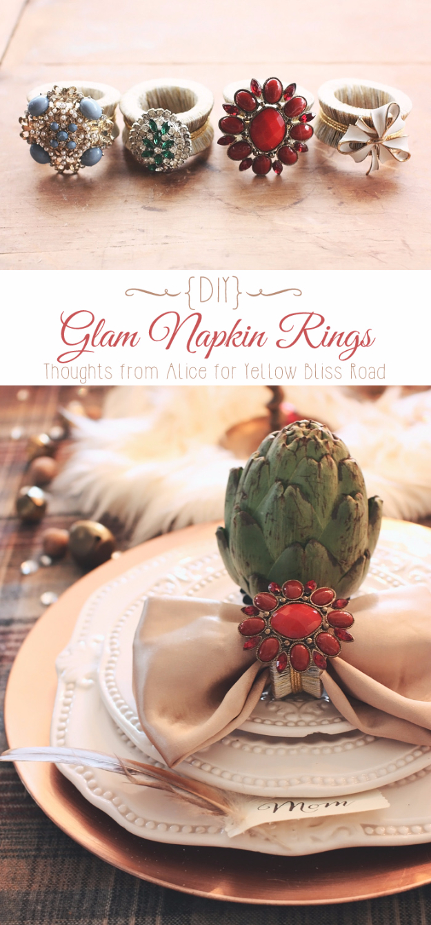 DIY Gifts for Friends - Christmas Gift Idea for Neighbor - - DIY Glam Napkin Rings - Cute Mason Jar Crafts, Gift Baskets and Cheap and Easy Gift Ideas to Make for Friends - Do It Yourself Projects You Can Sew and Craft That Make Awesome DIY Gifts and Homemade Christmas Presents #diygifts #christmasgifts #xmasgifts