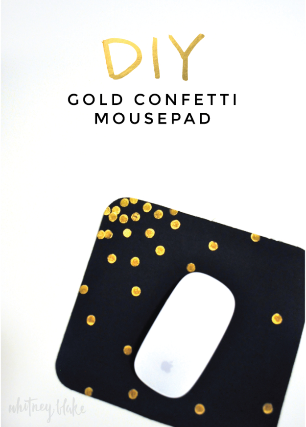 DIY Gift for the Office - DIY Gold Confetti Mouse Pad - DIY Gift Ideas for Your Boss and Coworkers - Cheap and Quick Presents to Make for Office Parties, Secret Santa Gifts - Cool Mason Jar Ideas, Creative Gift Baskets and Easy Office Christmas Presents