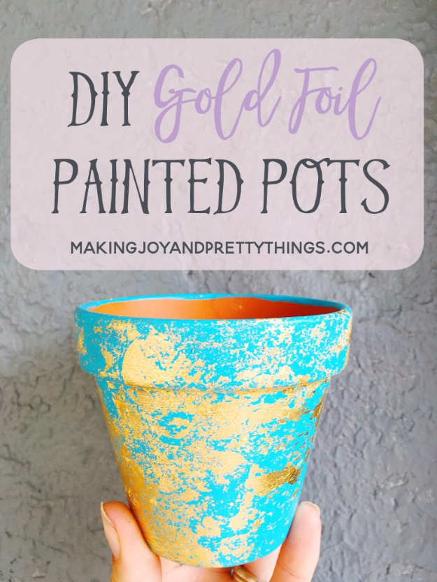 DIY Gift for the Office - DIY Gold Foil Painted Pots - DIY Gift Ideas for Your Boss and Coworkers - Cheap and Quick Presents to Make for Office Parties, Secret Santa Gifts - Cool Mason Jar Ideas, Creative Gift Baskets and Easy Office Christmas Presents http://diyjoy.com/diy-gifts-office