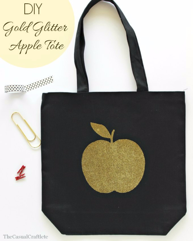DIY Teacher Gifts - DIY Gold Glitter Apple Tote - Cheap and Easy Presents and DIY Gift Ideas for Teachers at Christmas, End of Year, First Day and Birthday - Teacher Appreciation Gifts and Crafts - Cute Mason Jar Ideas and Thoughtful, Unique Gifts from Kids http://diyjoy.com/diy-teacher-gifts