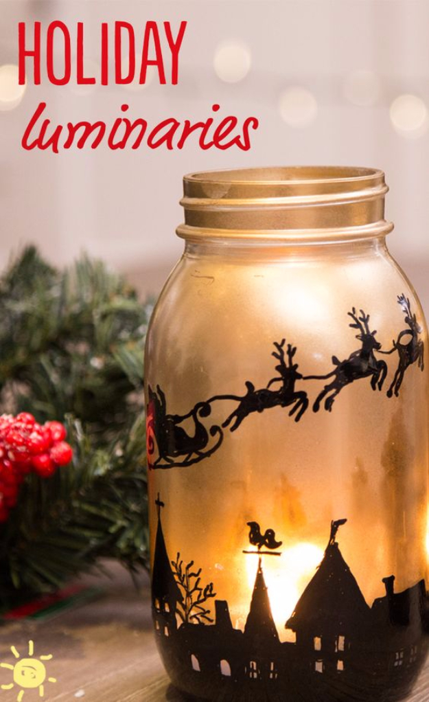 DIY Christmas Luminaries and Home Decor for The Holidays - DIY Holiday Mason Jar Luminaries - Cool Candle Holders, Tea Lights, Holiday Gift Ideas, Christmas Crafts for Kids #diy #luminaries #christmas