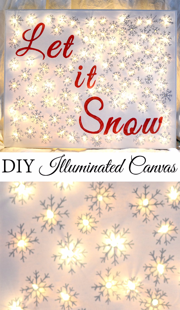 Creative Ways To Use Christmas Lights - DIY Illuminated Canvas - Best Easy DIY Ideas for String Lights for Room Decoration, Home Decor and Creative DIY Bedroom Lighting #diy #christmas #homedecor