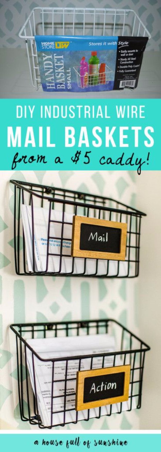 Creative Crafts Made With Baskets - DIY Industrial Wire Mail Basket - DIY Storage and Organizing Ideas, Gift Basket Ideas, Best DIY Christmas Presents and Holiday Gifts, Room and Home Decor with Step by Step Tutorials - Easy DIY Ideas and Dollar Store Crafts #crafts #diy